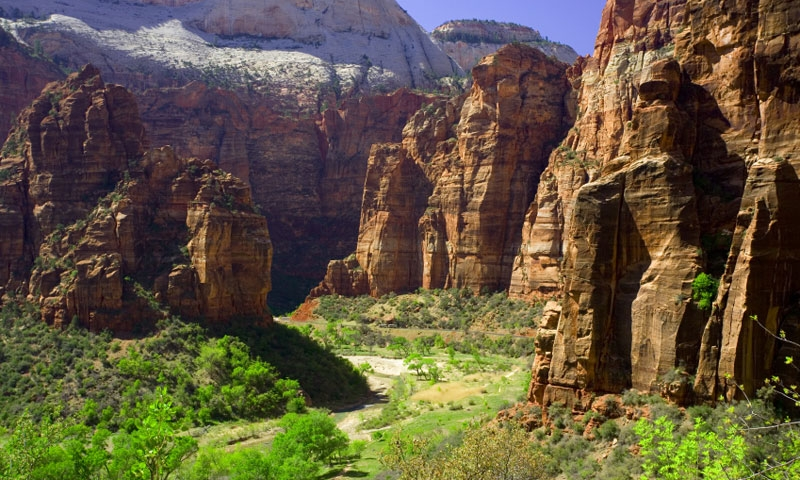 Looking across Zion Canyon to Angels Landing