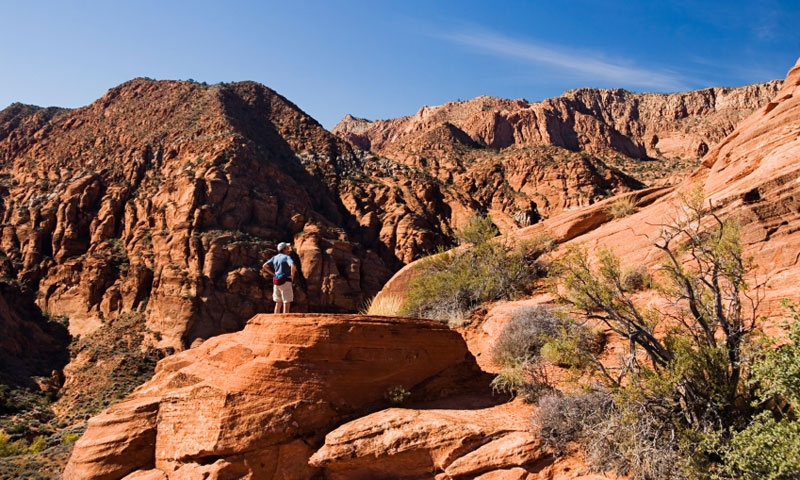 Hiking in the Red Cliffs Recreation Area near St George