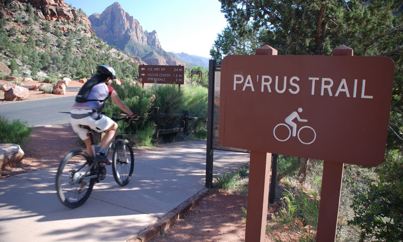 Biking the Parus Trail in Zion National Park
