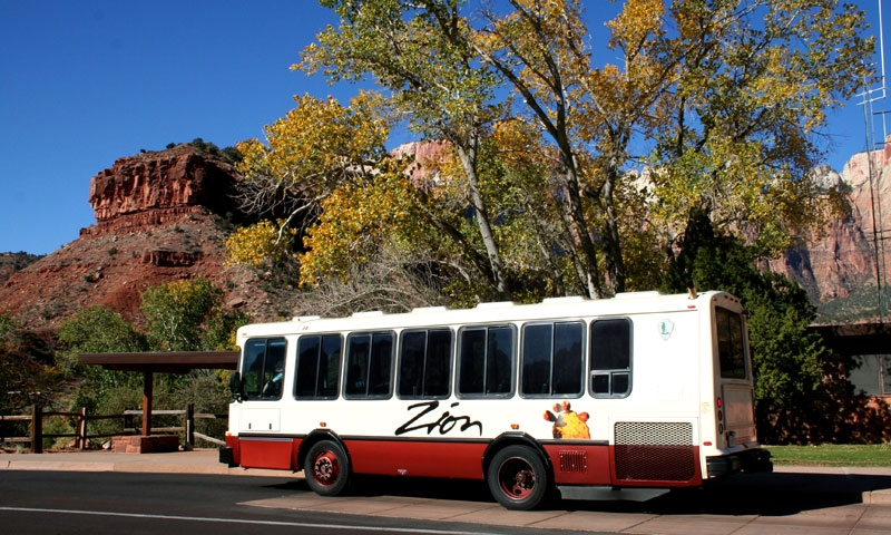 Free Shuttle Bus in Zion National Park