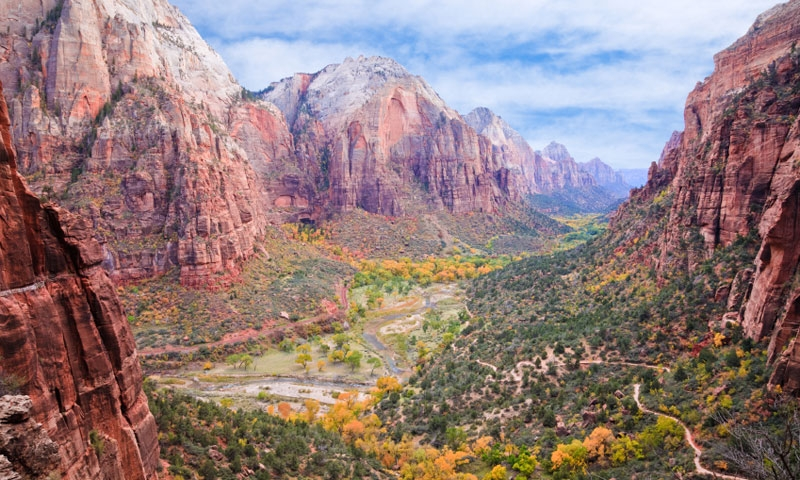 Hiking Trail in Zion Canyon in the Fall