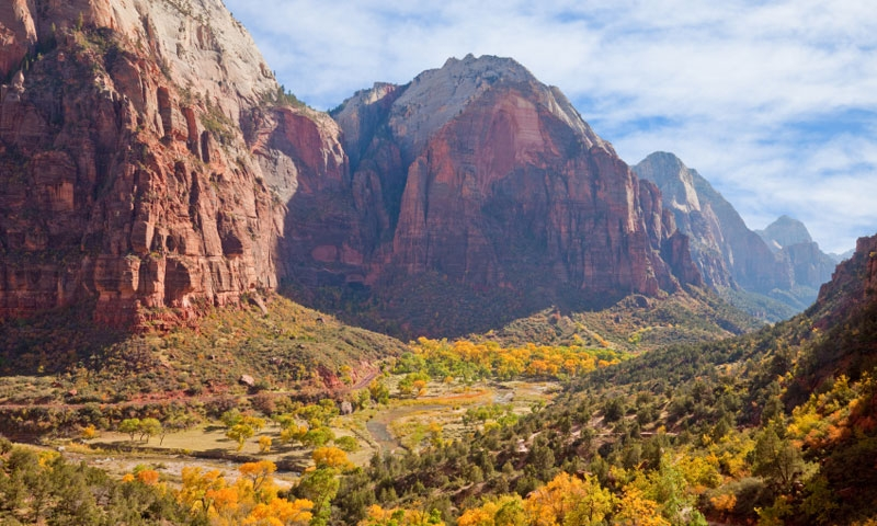 Virgin River runs through Zion Canyon in the Fall