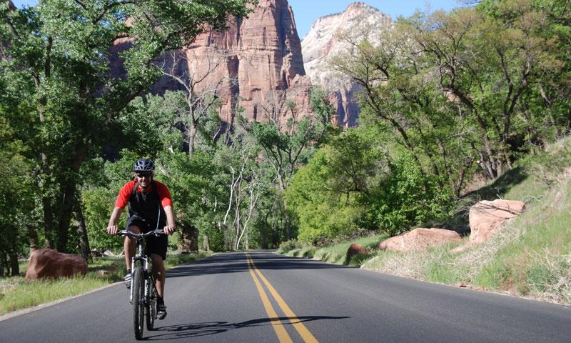 Biking through Zion National Park