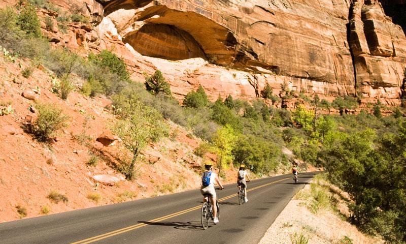 Biking through Zion Canyon