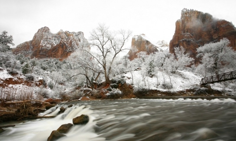 Winter Snow Zion National Park Utah