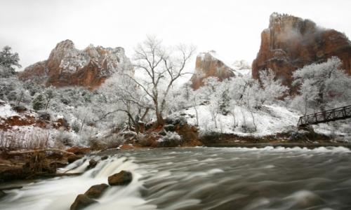 Winter Snow Zion National Park Utah
