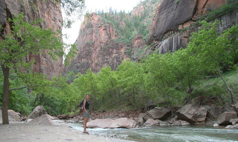 At the end of the Riverside Walk in Zion National Park